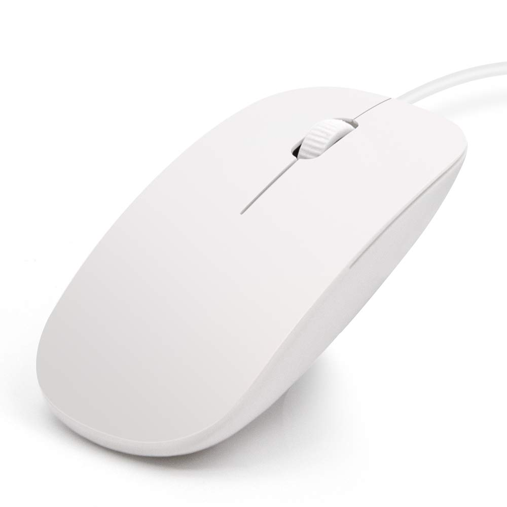 Sonkir USB Wired Mouse, Smooth USB-Connected Optical Mouse Compatible with Laptop, PC, Mac (White)