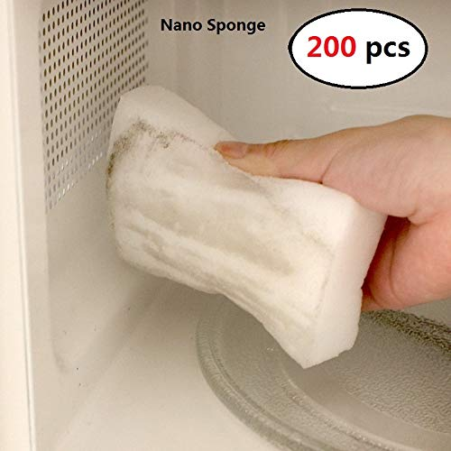 elegantstunning Nano Cleaning Sponge, Nanometer Cleaning Wipe Magic Sponge for Kitchen Bathroom (200 pcs)