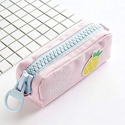 DragonPad Gran Cremallera Patrón de Fruta Estuche de lápices Lona Escolar Lápiz Bolsa Papelería Bolsa de Almacenamiento piña Gran Capacidad de Lona: Amazon.es: Hogar