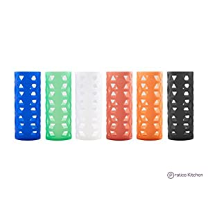 Silicone Sleeves for Pratico Kitchen, Epica, Hydro Flask, Estilo, & Similar Vacuum & Glass Bottles - 6 Pack