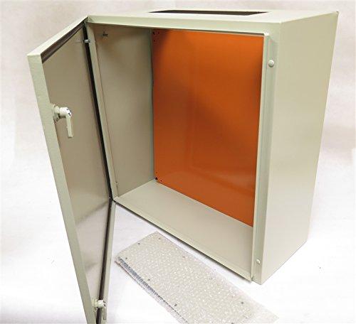 YuCo IP65 16 GAUGE SINGLE DOOR HINGE COVER WALL-MOUNT ENCLOSURE YC-24x24x10 24''(600)H X 24''(600)W X 10''(250)D STANDARD BEIGE INDOOR / OUTDOOR ENCLOSURE WITH BACK PLATE by Yuco