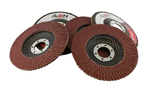 "ABN 4.5"" x 7/8 T27 80 Grit Aluminum Oxide Flat Flap Disc Grinding Sanding Sandpaper Wheels 5 Pack"