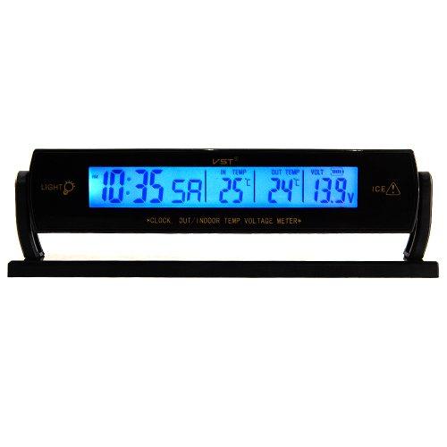 12V Termómetro Digital de Multifunción Temperatura Reloj LCD Voltaje Voltímetro para Coche