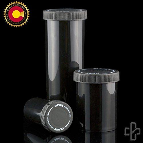Black 60DR CPSC Certified Plastic Prescription Vials with Push N Turn Cap - 98 pcs
