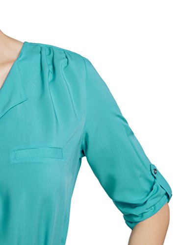 oodji Ultra Mujer Vestido de Viscosa con Cinturón Verde (6D00N)