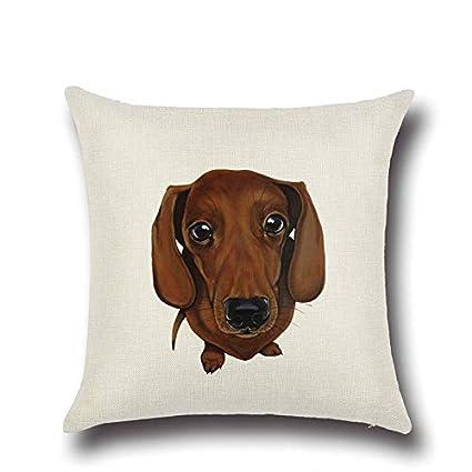 Amazon.com: 1 Pcs Pug Dog Bulldog Pattern Cotton Linen Throw ...