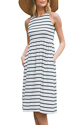 For G and PL Women Summer Casual Sleeveless Striped Cotton Empire Waist Tank Midi Dress with Pocket Navy L ()