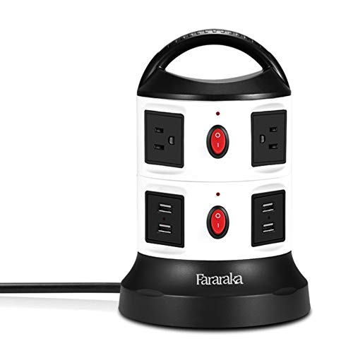 Power Strip Tower Surge Protector,Fire-proof all Side Universal Charger with 6 Outlets and 4-Port USB,9.8 ft Cord Wire Overload Protection and Safety Door Outlet for PC and Electronic Device 750 Joule ()