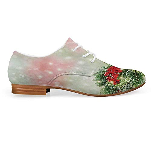 (Christmas Leather Lace up Oxfords Shoes,Evergreen Fir Branches with Red Ripe Holly Berries Blurred Backdrop Garland Decorative Bootie for Girls ladis Womens,US 7)