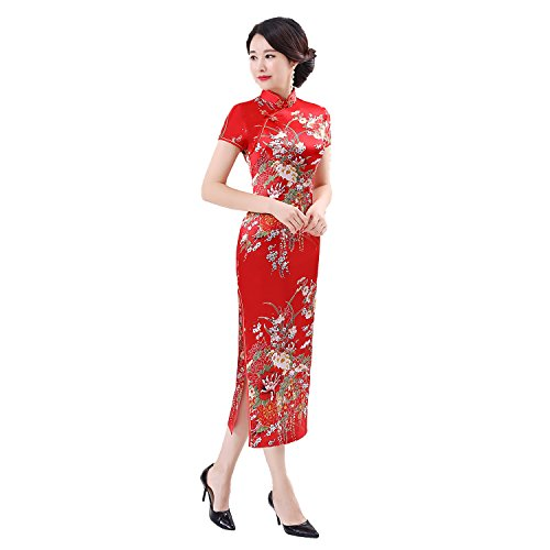 Shanghai Story Faux Silk Chinese Dress Long Cheongsam Floral Qipao 6XL Red