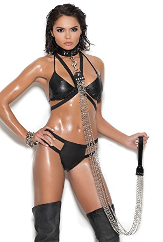 Hot Spot Chain Leash with Leather Handle Black