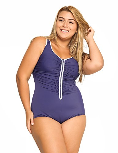 Delimira Women's Built-in Cup Plus Size Swimsuits One Piece Zip Front Bathing Suits Navy US 18W