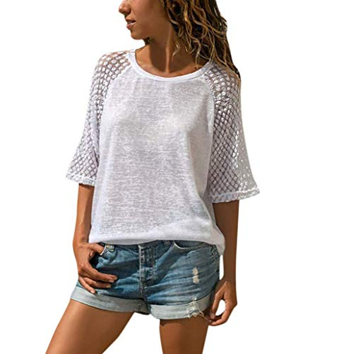 Women's Casual T-Shirt,Lace Patchwork 3/4 Sleeve O-Neck Top, Semi-Sheer Fashion Style for Ladies White S