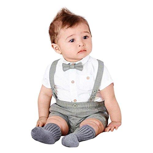 Shirt Pants Bib (Dinlong 3pcs Baby Boys Solid Color Short-Sleeved Shirt Jacket + Bib Suspenders + Bow Tie Gentleman Suit Set Outfits (Gray, 6-12 Months))