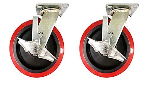 """4 Heavy Duty Caster 5/"""" 6/"""" 8/"""" Rubber on Cast Iron Wheels Rigid /& Total Lock Brake"""