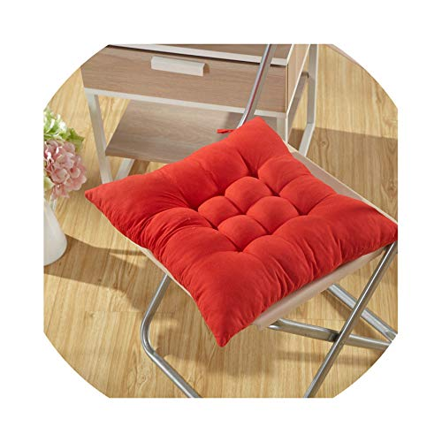 Winter Warm Chair Back Seat Cushion Mat Solid Color Office Seat Buttocks Pad 3838cm Sofa Waist Pillow Cushion for Home Decor,Dahong,About 38X38cm ()