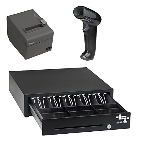 POS Hardware Bundle for Square Stand- Cash Drawer, Thermal Receipt Printer, and Barcode Scanner [Compatible with Square Stand] ()