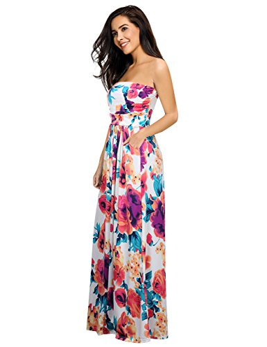 Leadingstar Women Strapless Hawaiian Beach Maxi Dress (White Orange Flower, XL)