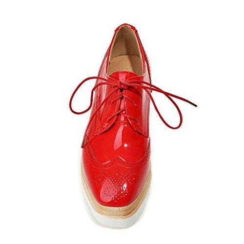 Susanny Plate-forme De Femmes Cale-lacets Bout-bout Bout Rond Richelieu Chaussure Casual Cuir Sneaker Rouge
