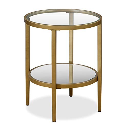 Henn&Hart Double Tier Glass and Gold Side Table (Brass Table Glass)