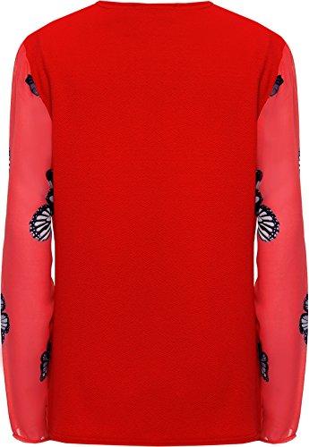 Soie Haut Manche Imprimer WearAll Femmes Femmes Hauts Longue De Tailles Mousseline 42 Cardigan Pur Rouge 56 Papillon Plus xwqtYPqg