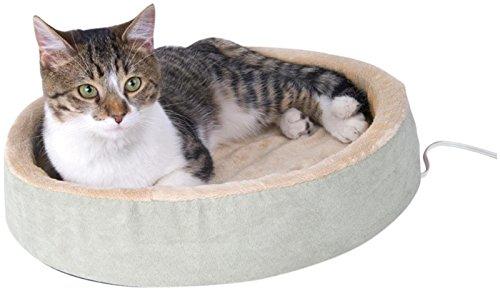 K&H Pet Products Thermo-Kitty Cuddle Up Heated Pet Bed Sage 16
