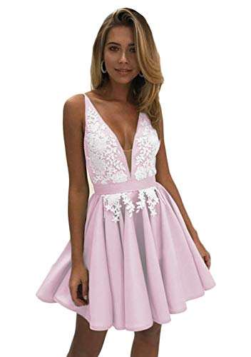 Satin Dress Strap Ruffles Spaghetti Prom Dress Pink Short Party Womens Oufeisha OFS07 Homecoming nFx0tt