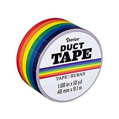 Darice 30079681 Patterned Primary Rainbow, 1.88 Inches x 10 Yards Duct Tape, Multicolor by Darice