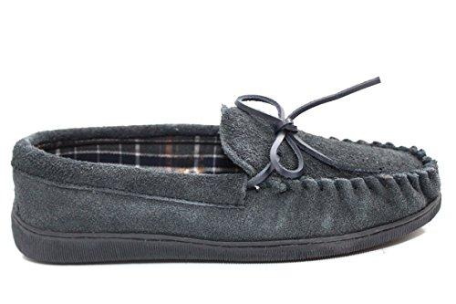 11 6 Tamaño hombre de marino sin para Azul Reino real marrón mocasín Zapatillas cordones Unido gamuza Zapatos cuero q7wzOp