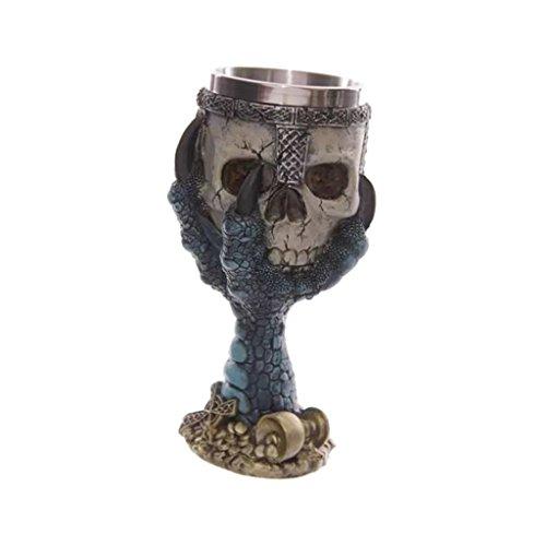 301-400ml Skull Claw Goblet Stainless Steel Skeleton Halloween Bar Deco Blue