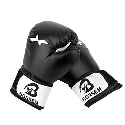 Libertroy Dise/ño c/ómodo Guantes de Entrenamiento de Cuero de la PU Guantes de Boxeo 2 Colores Accesorio de Boxeo Opcional