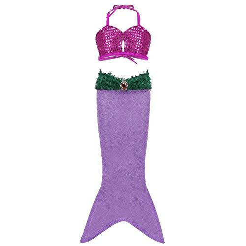 Freebily 2pcs Girls Sequined Little Mermaid Tails Dress Ariel Costume Princess Halloween Party Swimwear Swimsuit Bathing Suit (5, Light Purple Mermaid Tail Bikini Set) -