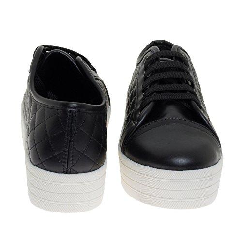Breckelles Läder Flatform Snörning Vadde Sneaker W Gummi Plattform Svart
