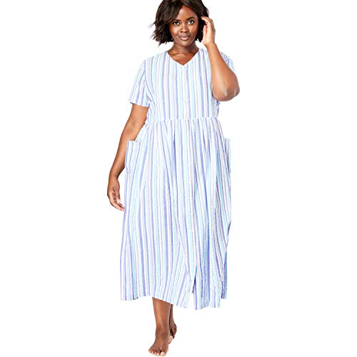 - Only Necessities Women's Plus Size Long Seersucker Lounger - French Lilac Stripe, 1X