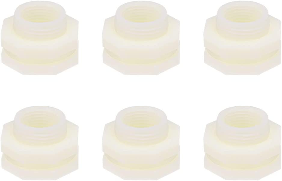 Gray PVC Tube Adaptor Pipe Fitting with Silicone Gasket uxcell Bulkhead Fitting Pack of 4 G3//4 Female Lengthen for Water Tanks