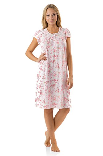 (Casual Nights Women's Fancy Lace Flower Short Sleeve Nightgown - Pink - XX-Large)