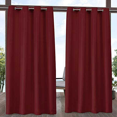 Radiant Rod Pocket - Exclusive Home Curtains Indoor/Outdoor Solid Curtain Panel, 54x120, Radiant Red