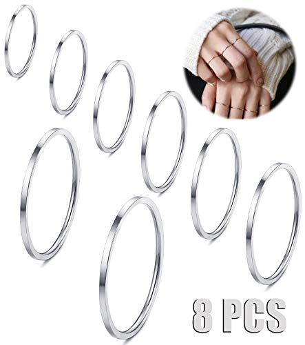 Silver Toe Silver Ring Tone (Fiasaso 8 Pcs 1mm Stainless Steel Stacking Rings Knuckle Rings Plain Rings Midi Rings Comfort Fit Size 2 to 9 Silver Tone)