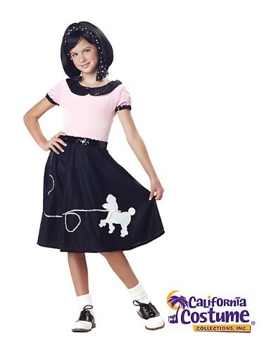 California Costumes 50's Hop with Poodle Skirt Child Costume, Medium (Girls Tween Halloween Costumes)