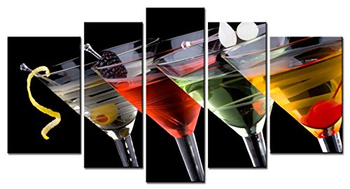 SmartWallArt - Liquor Series 5 piece Home Decor Wall Art Classical Martini in Chilled Glass with Fresh Blackberry Maraschino Cherry Marinated Paintings for Modern Living Room
