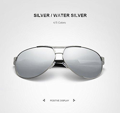 polarizado aviación de Sol Gafas Gafas Sol de lan de Retro Marca Silver de silver Color Espejo water Espejo Gafas New para de Black Gray diseñador Hombre Shuo Gafas Sol de vtwxBHqOw