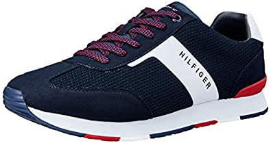 TOMMY HILFIGER Men's Colour-Blocked Logo Trainers Colour-Blocked Logo Trainers, Midnight, 41 EU