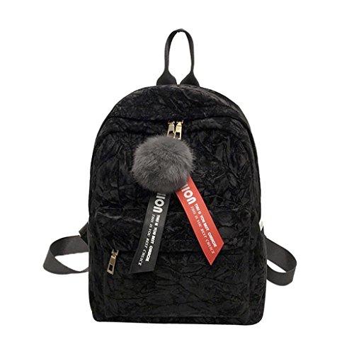 Creazrise Women Backpack,Women'S Corduroy Mini Backpack With Plush Ball Fashion Shoulder Bags (Black)