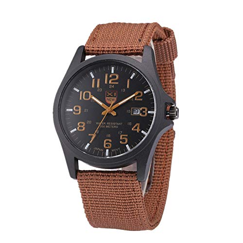 - Military Watch,Men Analog Watches Army Filed Tactical Sport Wrist Watches Canvas Strap Calendar Date (Brown)