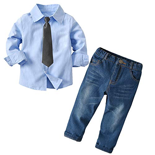 Baby Boys Long Sleeve Gentleman Outfit Suits Set,Blue Shirt+Jeans+Striped Tie,18-24M ()