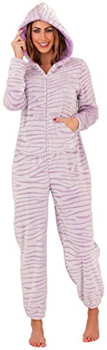 Tiger Stripes Purple Design (Ladies Womens Lilac Purple Tiger Stripe Design Fleece All In One Onsie Jumpsuit XL 20 to 22)