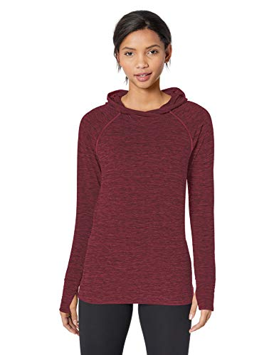 Amazon Essentials Women's Brushed Tech Stretch Popover Hoodie, Burgundy Space dye, Large (Burgundy Workout Jacket)