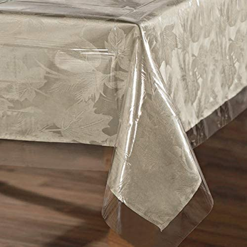 sancua Clear Plastic 100% Waterproof Tablecloth - 60 x 120 Inch - Vinyl PVC Rectangle Table Cloth Protector Oil Spill Proof Wipe Clean Table Cover for Dining Table, Parties & Camping, Crystal Clear
