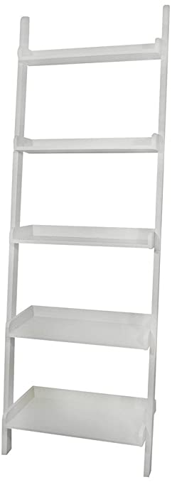 Amazon.com: White 5 Tier Leaning Ladder Book Shelf By EHomeProducts:  Kitchen U0026 Dining