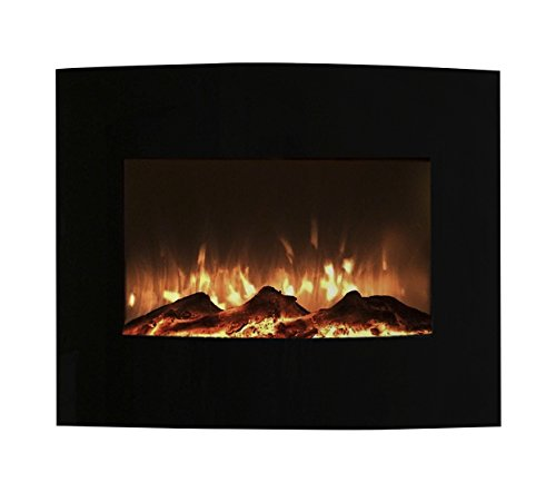 Northwest 80-455S Mini Curved Black Fireplace With Wall & Floor Mount, 25